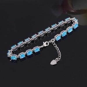 Image 3 - CiNily Blue & White Fire Opal Stone Chain Bracelets Silver Plated Oval Fine Link Bracelet Bohemia BOHO Summer Jewelry Woman Girl