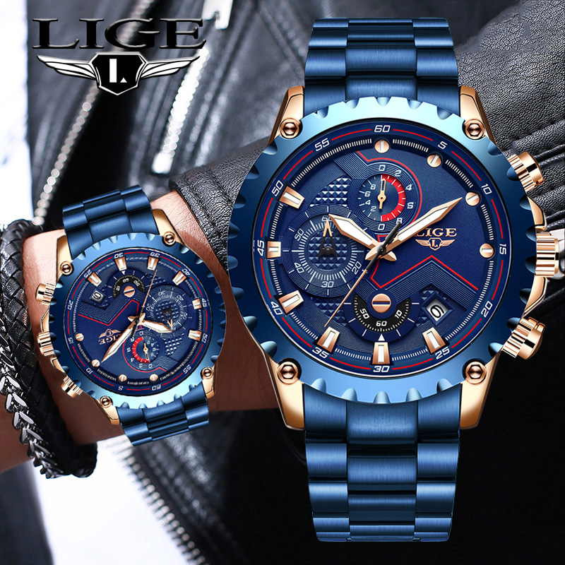 2020 LIGE New Fashion Mens Watches with Stainless Steel Top Brand Luxury Sports Chronograph Quartz Watch Men Relogio Masculino