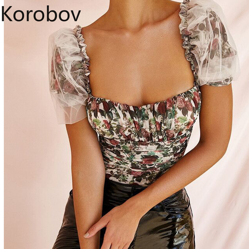 Korobov 2020 Summer New Chic Puff Sleeve Women Bodysuits Elegant Square Collar Female Playsuit Mesh Patchwork Print Clothes