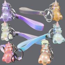 New design Leather rope crystal Uincorn Key Chain Popular Car key ring Ice crack unicorn pendant #LS1907292