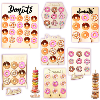 Wooden Donuts Wall Stand Sweet Candy Bar Doughnut Display Holder Baby Shower Kid Birthday Party Decoration Dessert Table Decor