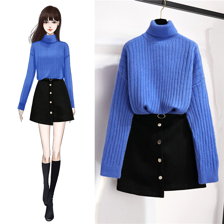 New Winter Sets High Collar Loose Long-Sleeved Sweater Black A Line Skirt Suits Women 2 Pcs Clothing Set Outfit Knitwear Suit