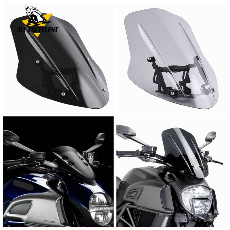 Windshield For 2014-2018 Ducati Diavel Windscreen Cover Wind Shield Deflector With Mounting Bracket 2015 2016 2017
