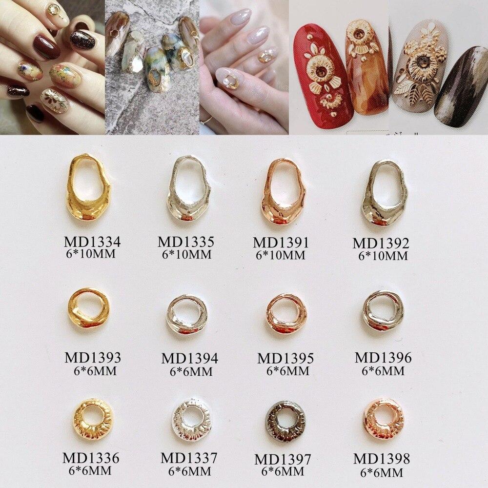 50 шт./пакет Металлизированное украшение для ногтей 3D амулеты круг геометрические формы дизайн ногтей деко