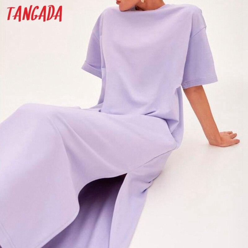 تانغدا 2021 الانيق للنساء 95% فستان من القطن فستان قصير الاكمام مفتوح من الجانب فستان ميدي النسائي 6L60|Dresses| - AliExpress