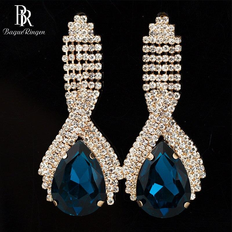 Bague Ringen Korean Fashionable Silver 925 Jewelry Temperament Ear Drops Long Crystal Earrings For Women Wholesale Weddings Gift