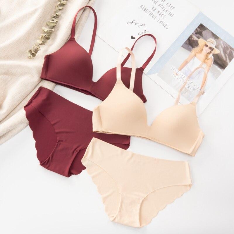 Nahtlose Bh Set für Frauen Unterwäsche Push-Up Drahtlose Dessous Set Eingestellt-straps Einfache Stil Komfortable Tägliche Weibliche