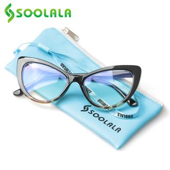 SOOLALA ponadgabarytowe kocie oko blokujące niebieskie światło okulary do czytania kobiety okulary do czytania + 0 5 0 75 1 25 1 75 do 4 0 okulary do czytania tanie i dobre opinie WOMEN WHITE CN (pochodzenie) Gradient 6-17-520 4 4cm Z poliwęglanu 5 7cm Z tworzywa sztucznego Cat Eye Reading Glasses