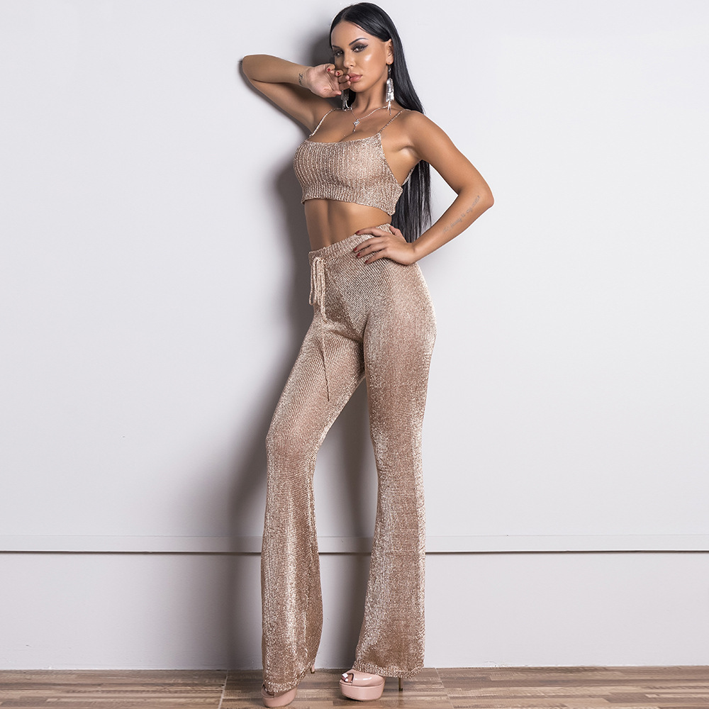 2019 Europe And America-Metallic Lace-up Off-Shoulder Two-Piece Set WOMEN'S Tank Top Elegant Solid Color Trousers Set Ft9357