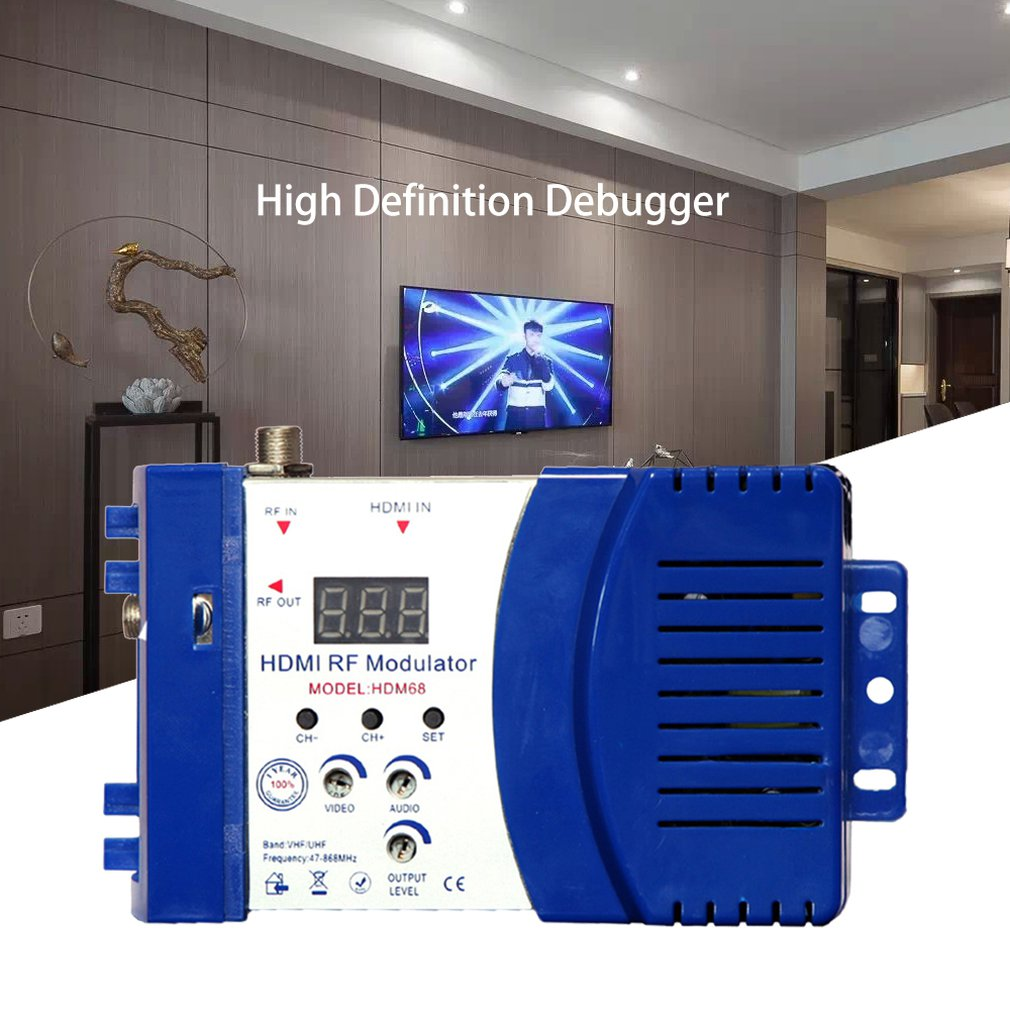 HDM68 Modulator Digital RF HDMI Modulator AV To RF Converter VHF UHF PAL/NTSC Standard Portable Modulator For US Blue