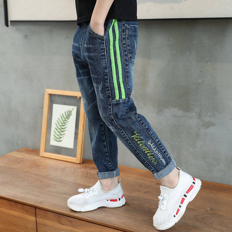 IENENS Boys Jeans Denim Trousers Kids Clothes Children Clothes Spring Young Boy Straight Cowboy Trousers Casual Pants 5-13Years