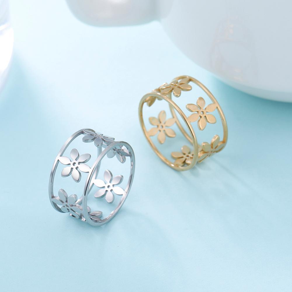 Skyrim 2021 romantique fleur bague en acier inoxydable large creux femmes filles décontracté anneaux bijoux fiançailles anniversaire cadeau