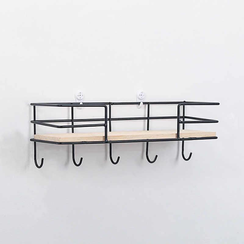 الإبداعية الحديد الخشب جدار تخزين الرف هوك سلة معلقة الرف ديكور Batroom