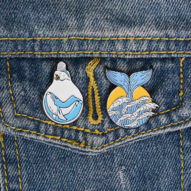 Laut Koleksi Enamel Pin Kehidupan Laut Gelombang Bros Kerah Pin Denim Kemeja Jeans Tas Berwarna Merah Muda Kartun Laut Perhiasan Hadiah untuk teman