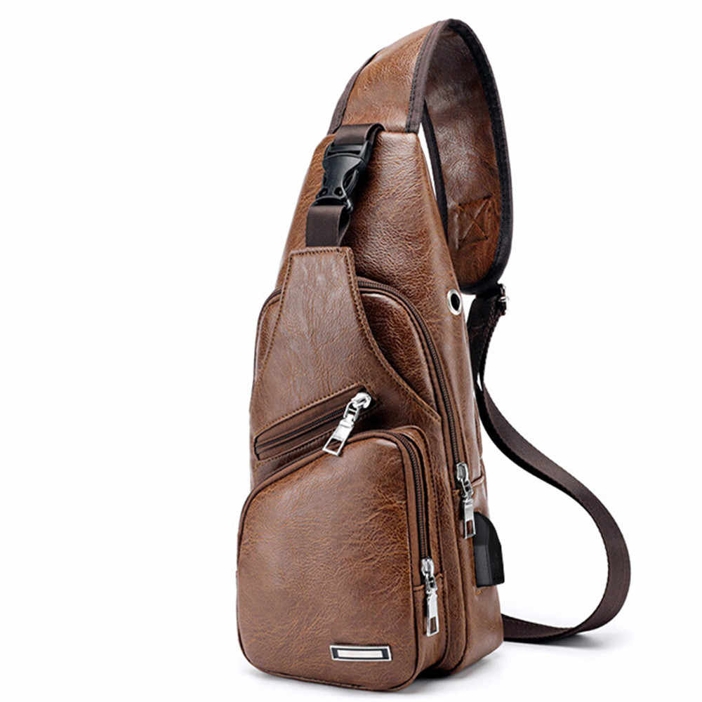 Men's Crossbody Bags USB Chest Bag Designer Man Messenger bag Leather Shoulder Bags Diagonal Package Back Pack Travel Purse
