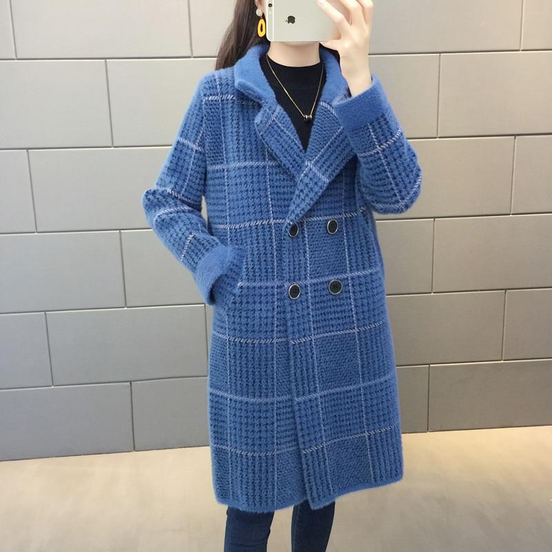 Mink Fleece Outwear Female Sweater Cardigan Women's 2020 Clothing Autumn Winter Thick Loose Imitation Mink Plaid Coat Women E291