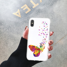 LL Silicone Phone Case For iPhone XS Max XR X 6 S 8 7 Plus 10 5 SE Clear Soft TPU Colorful Butterfly Flower Coque