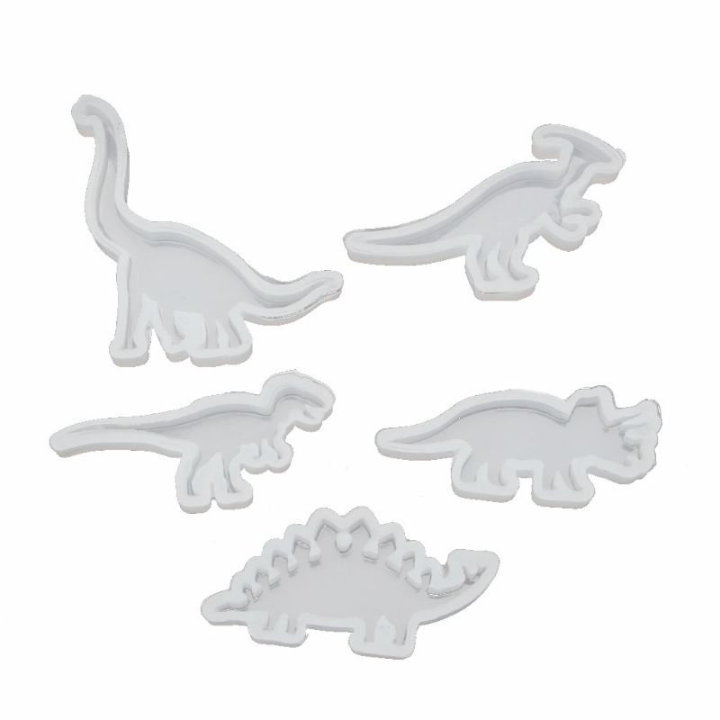5Pcs Animals Cute Dinosaur Pendant Resin Silicone Molds Jewelry Making Tools DIY Handmade Crystal UV Epoxy Resin Mold