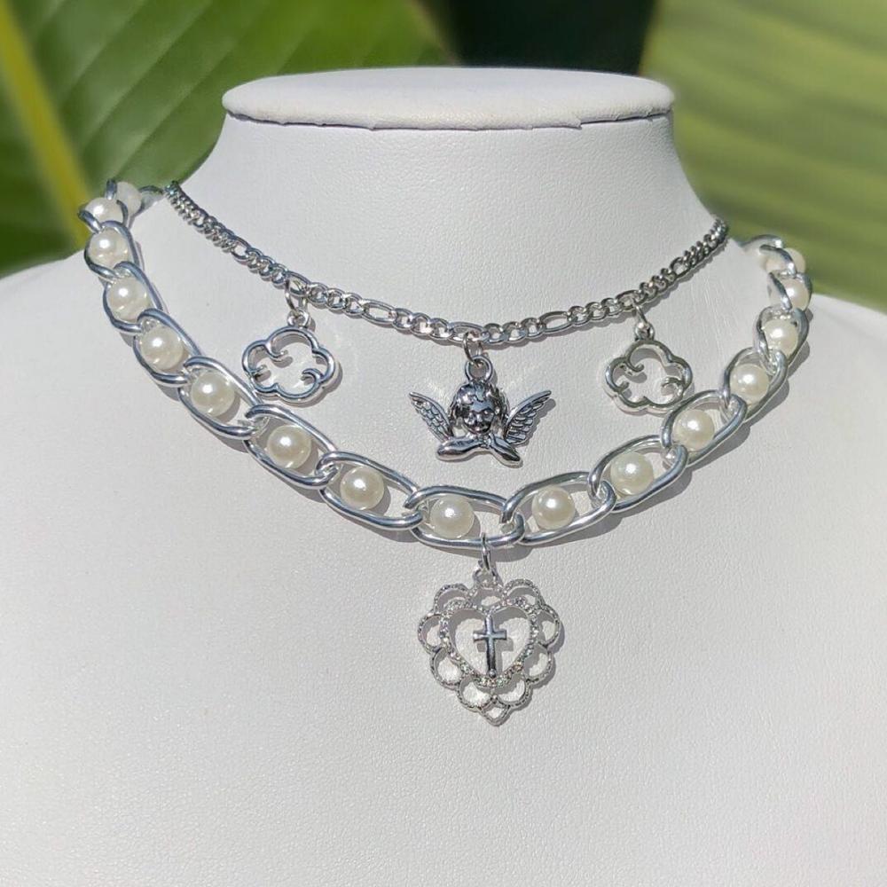 Vintage Angel Pearl Hollow Out Cloud Heart Cross Pendant Necklace For Women Punk Harajuku Hip Hop Baroque Choker Necklace 2020