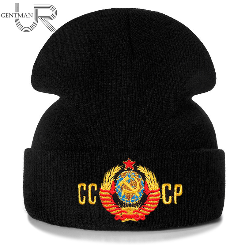 New Unisex Soviet National Emblem Beanie Casual Winter Hat For Men Women Warm Knitted Hat Solid Color CCCP Beanie Hat