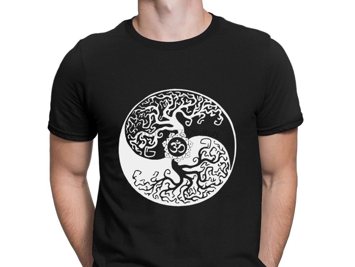 "Mens White T-Shirt /""Breathe/"" Flowery Pattern India Boho om Zen Print TS638"
