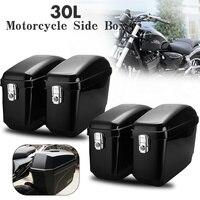 1 Pair Large Motorcycle Saddle Bags Side Boxs 30L Black Motorcycle Luggage Tank Saddle Bag For Harley Cruisers Kawasaki Honda