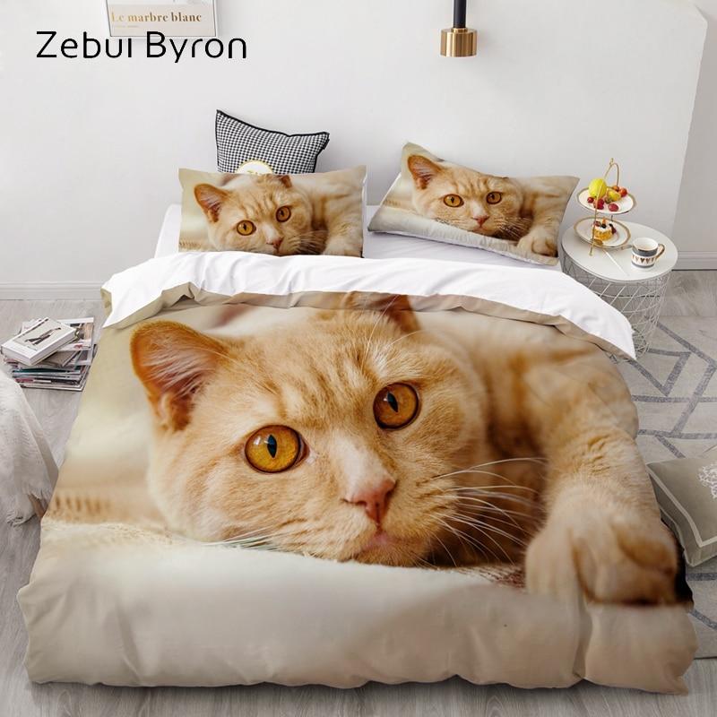 3D Luxury Bedding Set Custom/King/Europe/USA,Duvet Cover Set,Quilt/Blanket Cover Set,Bed Set Animal Pet Cat Pattern,drop Ship