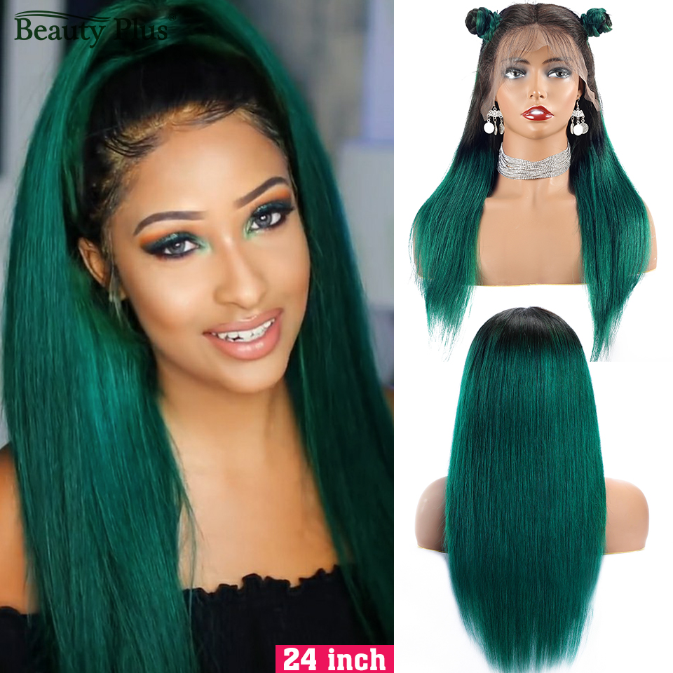 Beauty Plus 1B Green 13*4 Straight Lace Front Human Hair Wigs For Women Brazilian Remy Hair 150% Density Colored Human Hair Wigs