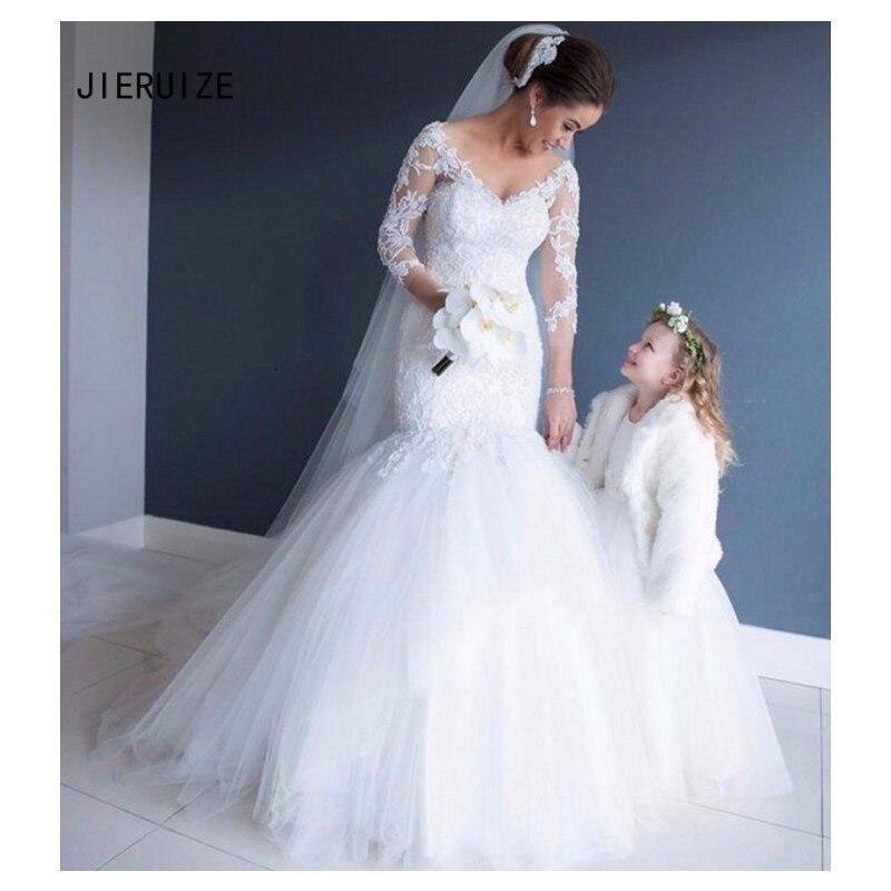 JIERUIZE  Mermaid Backless Wedding Dresses Deep V Neck Long Sleeves Lace Appliques Bridal Gowns Church Vestidos De Novia