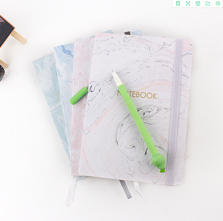 Ins Style Marbling Notepad  Concise Notebook Horizontal Lines Inside Pages 48sheets/96pages Kawaii Stationery