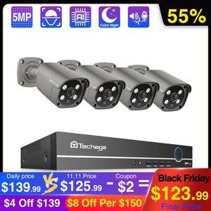 Image 1 - Techage 4CH 5MP POE NVR System kamer IP AI ludzki wykryty dwukierunkowy dźwięk bezpieczeństwo zewnętrzne zestaw kamerowy wideo CCTV zestaw do nadzorowania