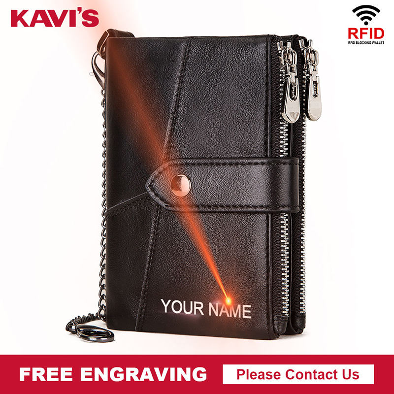 KAVIS DIY Free Engraving Rfid Men Wallet Male Cuzdan With Chain Coin Purse Short Male Money Bag Card Holder Small Portomonee