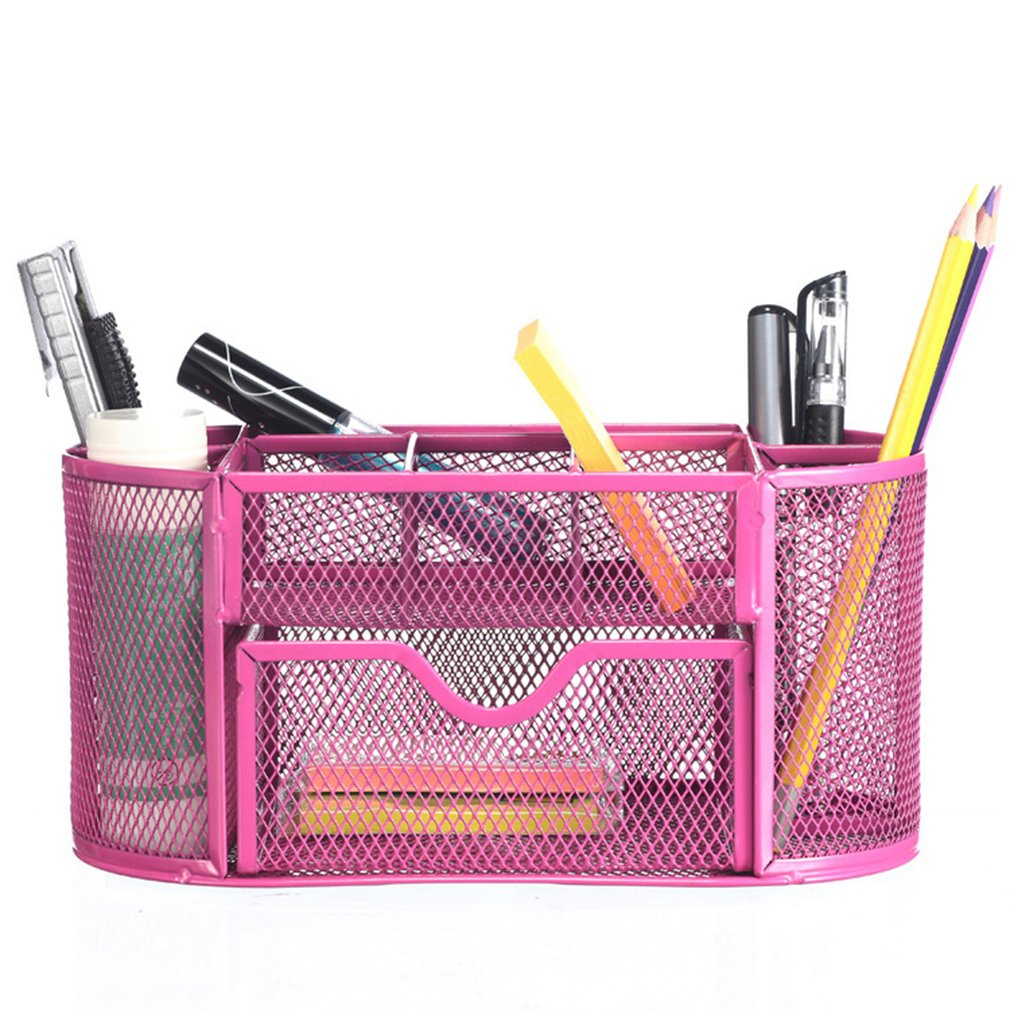 Metal Pen Holder Pen Student Multi-Function Stationery Creative Table Iron Mesh Nine Grid Combination Storage Box