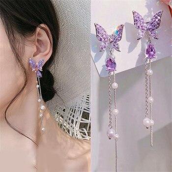 Butterfly Rhinestone Drop Dangle Earrings Jewelry Pearl Jewelry