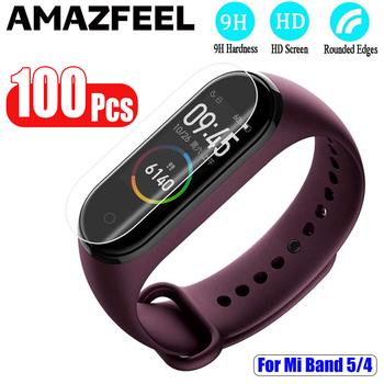 100PCS For Mi Band 5 Screen Protector Film For Xiaomi MiBand 5 4 Screen Protective Film Smart Wristband Accessories Not Glass