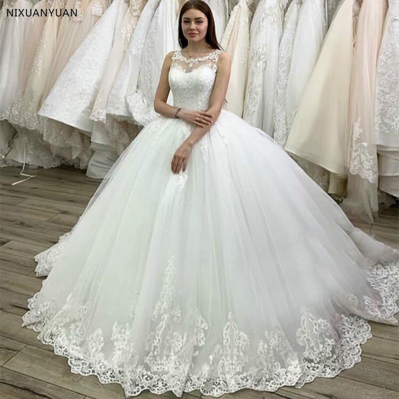 New Arrival Vestido De Noiva Princess Ball Gown Wedding Dress Scoop Neck Applique Lace Bridal Dress Robe De Mariee Chapel Train