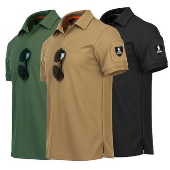 Męska koszulka Polo z krótkim rękawem koszule męskie Slim Fit szybkie suche koszulki Rugby marka rosyjska koszulka taktyczna US Army krótki Top zielony tanie i dobre opinie Szczupła Military Kieszenie Odznaka Przycisk Naramiennik Stałe Poliester xxxl