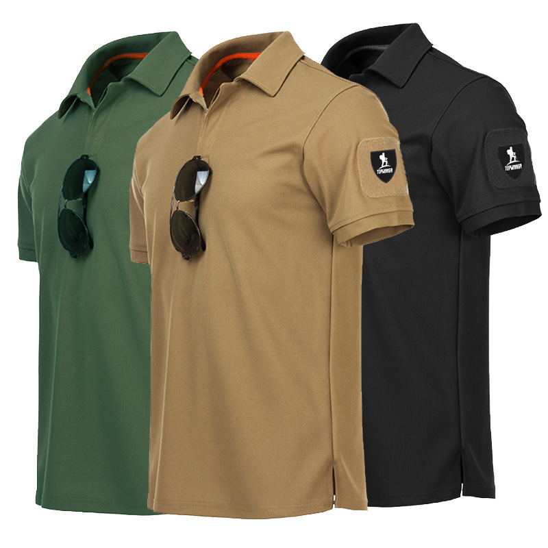 Men's Short Sleeve Polo Shirts Men Slim Fit Quick Dry T Shirts Rugby Brand Russian US Army Tactical Tee Shirt Crop Top Green