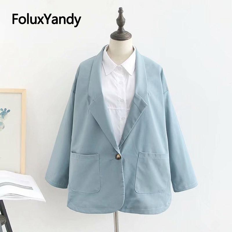 2019 Autumn New Blazers Women Coats Plus Size Office Lady Outerwear Single Button Blazers Blue Black KKFY3870