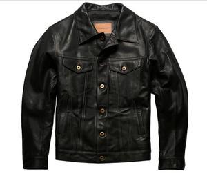 Image 1 - 年!送料無料。ヴィンテージスタイルのオイルワックスホースハイドジャケット、クラシックカジュアル557本革のコート、高品質革の服