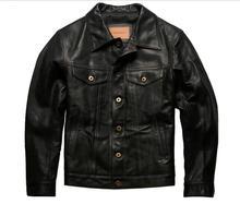 שנה! משלוח חינם. Vintage סגנון שמן שעווה עור סוס מעיל, קלאסי מזדמן 557 עור אמיתי מעיל, בגדי עור באיכות גבוהה
