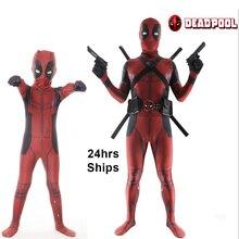 משלוח חינם ילד Deadpool תלבושות עם מסכת Superhero קוספליי חליפת ילד מלא בגד גוף ליל כל הקדושים ילד למפלגה
