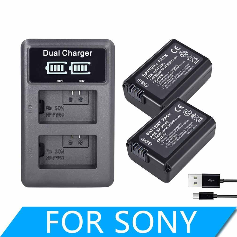 2000mAh NP-FW50 NP FW50 แบตเตอรี่กล้อง + LCD USB Dual Charger สำหรับ Sony Alpha A6500 A6300 A6000 A5000 A3000