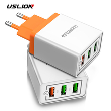 USLION 18W Quick Charge 3.0 USB Fast Charging Wall Charger for iPhone 7 X Samsung Huawei EU US Plug Mobile Phone Charger Adapte usb charger eu us plug 3 ports quick charge fast charging mobile phone charger for iphone x samsung xiaomi huawei travel charger