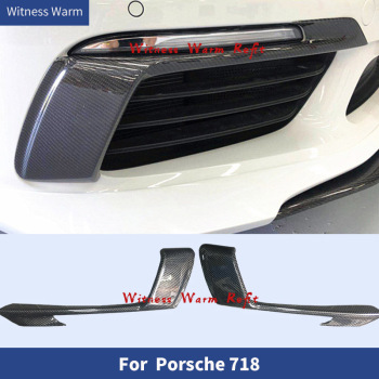 Carbon Fiber Front Bumper Splitter Spoilers Front air wind knife Headlight Eyebrow for Porsche 718 Cayman Boxster 2016 2017 18 image
