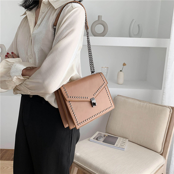 Fashion Women Pu Leather Chain Shoulder Messenger Bags High Quality Small Rivet Crossbody Bags for Women Designer Female Handbag image