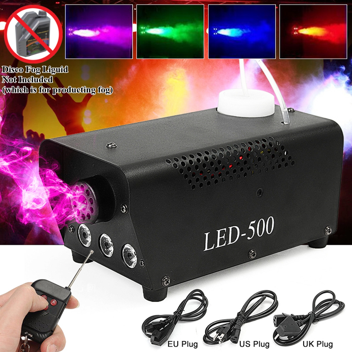 500W Fog/Smoke Machine W/ Remote RGB LED DJ Thrower DJ Party Family Ball Leisure Parties Light Smoke Thrower