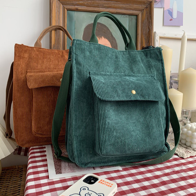 Hylhexyr Corduroy Shoulder Bag Women Vintage Shopping Bags Zipper Girls Student Bookbag Handbags Casual Tote With Outside Pocket 1