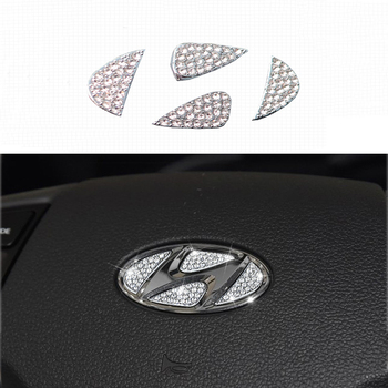 Car Accessories For Hyundai elantra Tucson veloster Verna IX35 i10 i20 Car steering wheel logo Rhinestones decoration stickers
