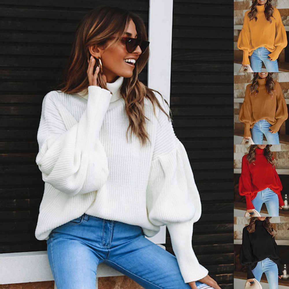 겨울 터틀넥 당겨 스웨터 여성 의류 패션 니트 느슨한 캐주얼 스웨터 레드 블랙 Blusa D3039